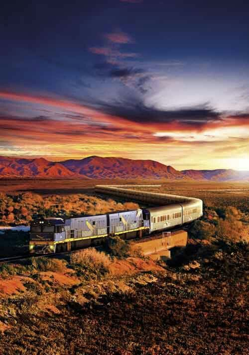 This is the Indian Pacific on is way from South Australia, to Western Australia. The beautiful Flinders Ranges are in the background. This train crosses Australia on a 4355 km, 4 day 3 night journey.