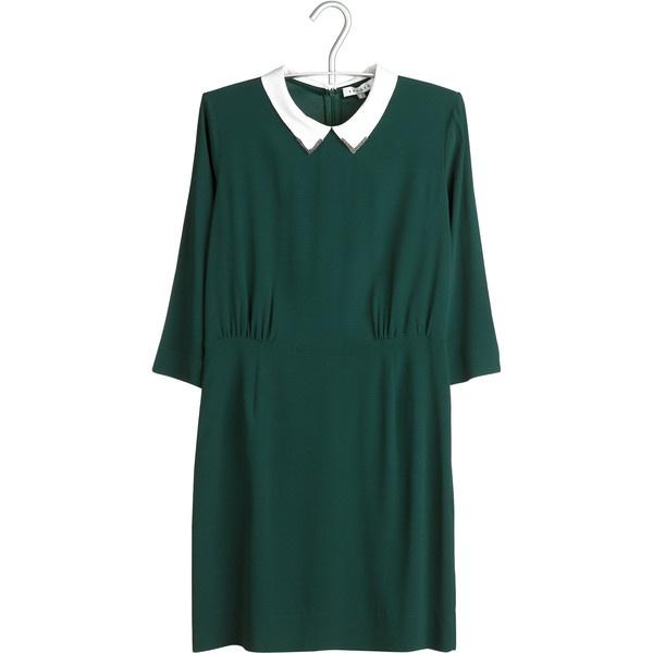 SANDRO Robe col chemise Vert ($290) ❤ liked on Polyvore