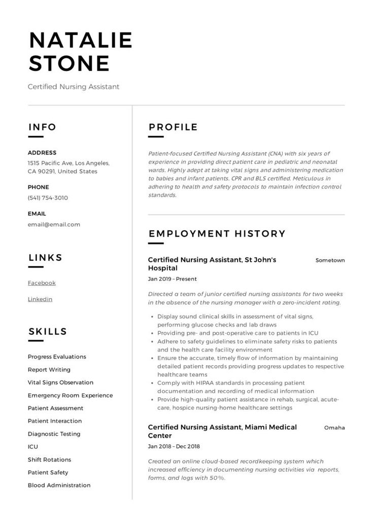 Certified nursing assistant resume writing guide in 2020