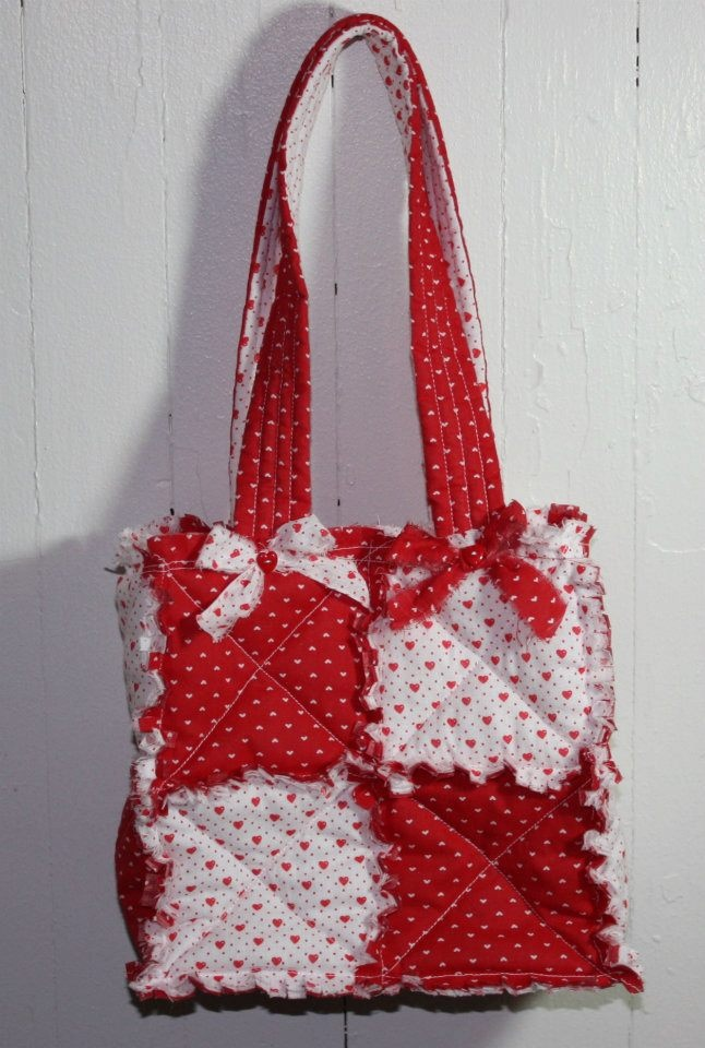 Rag Quilted Handbag Pattern : Cool Valentine Purse from Cindy s Handmade Rag Quilt Purses See More @ https://www.facebook.com ...
