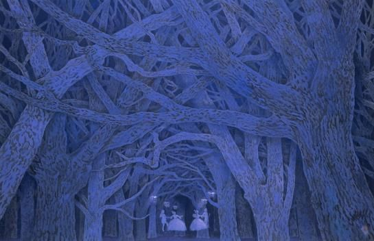 The artwork is created by Kaii Higashiyama. The image unifies reality and illusion. It is in the deep forest around midnight. Branches of huge trees intertwine. I see a ball taking place at the end of the corridor. Aristocratic people dance in graceful fashion. The image shows a fantastic atmosphere.
