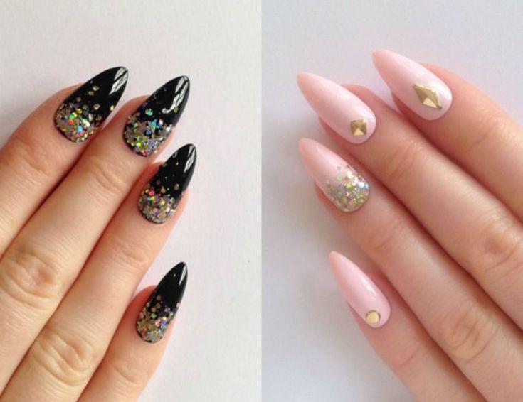 Modele de unghii ascutite si colorate cu sclipici