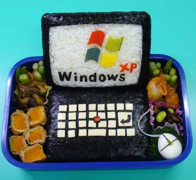Hahaha! So funny and geeky! Ingredients: Rice, Nori, Veggies, Hard/Soft-Boiled Egg