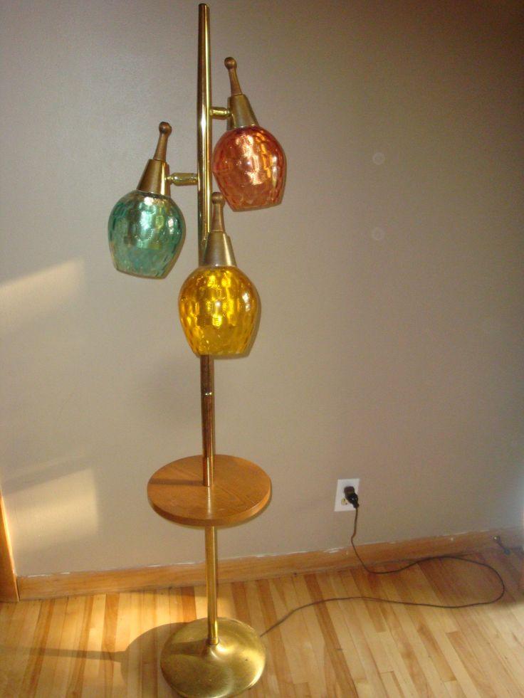 Mid Century Modern Floor Lamp Table 3 Glass Globes Teak
