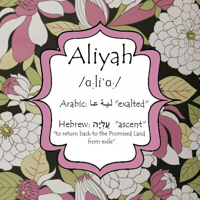 Aliyah Name Meaning  Couldn't find one online, so had to make my own. :)