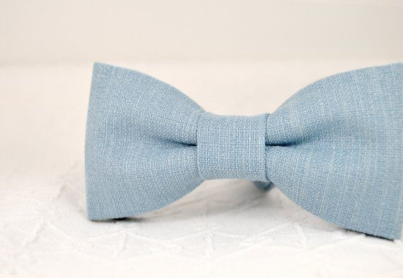 Steel blue bow tie grey blue bow tie wedding linen от MrFoxBowTies