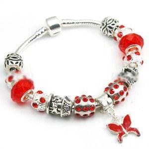 Red Crystal Charms Butterfly Pendant Pandora Style Bracelet