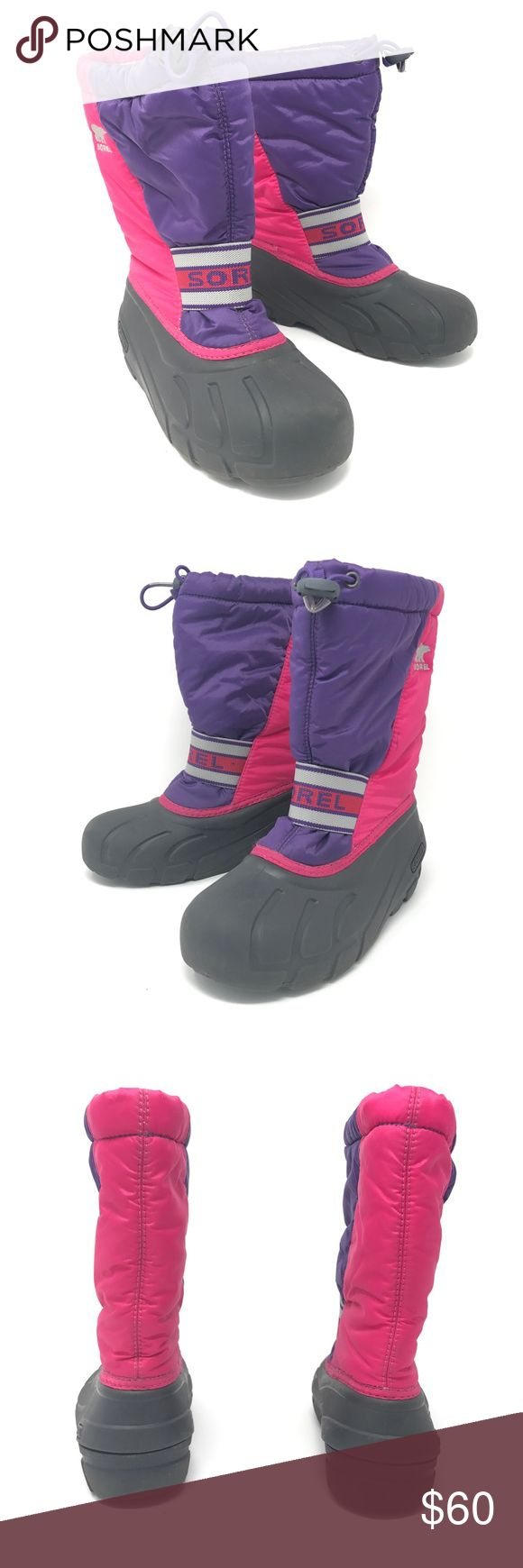 Sorel Snow Boots Cub Bright Rose Youth Sz 3 Sorel Snow Boots Cub Bright Rose Big Kids Youth Size 3 Pink & Purple Waterproof  Size: Youth Size 3 Color: Pink and Purple Style Name/Number: Cub In Bright Rose  In good preowned condition with no known major flaws and light overall wear, does have a couple marks on one boot on the pink part see images. Sorel Shoes Rain & Snow Boots