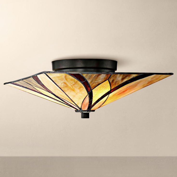 "Quoizel Asheville 15"" Wide Valiant Bronze Ceiling Light"