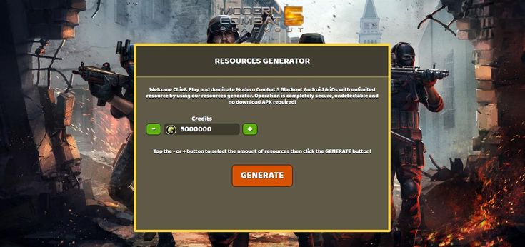 - Unlimited Credits  Modern Combat 5 Blackout Hack Online:  http://resources-generator.online/modern-combat-5-blackout.html