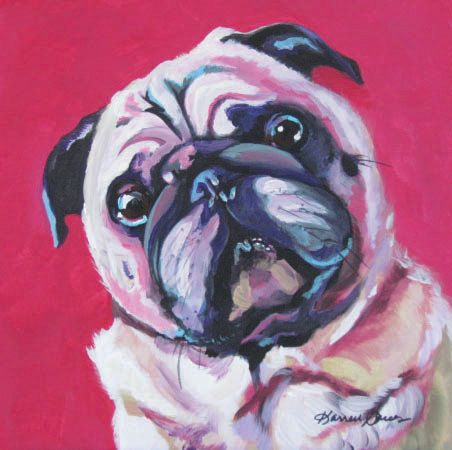 Pug, Pop Art, Pet Portrait, Dog Portrait, Pink, Painting, Colorful Dogs, Animals, Dog Lovers, Dog Gifts, Print, Canvas