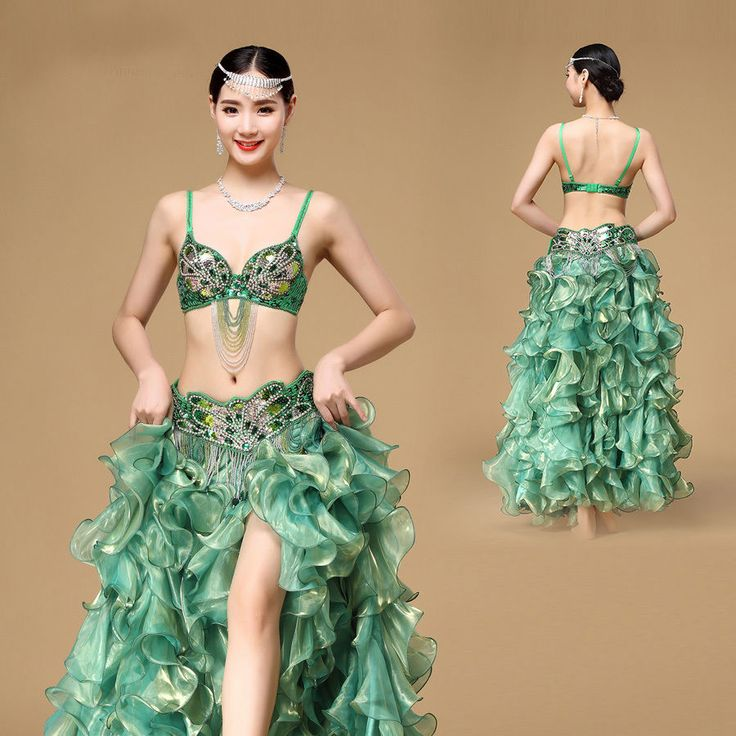 New Belly Dance Costume Set Bra Top Belt Skirt Dress Rio Carnival Bollywood 3PCS #Unbranded