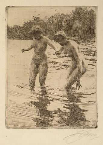 Two Bathers - Dry Point & Etching by Anders Zorn