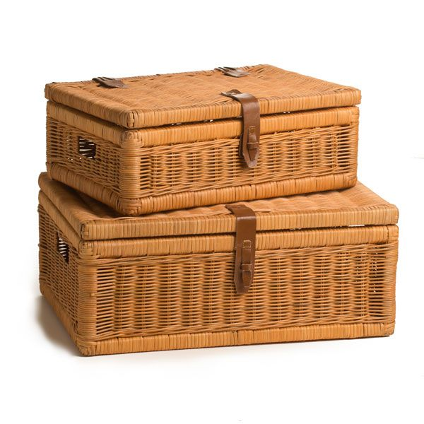 Wicker Covered Storage Basket - The Basket Lady - beautiful handmade wicker & rattan baskets, furniture, and home décor $36