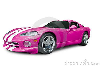 A hot pink Dodge Viper GTS, isolated on a white background with clipping path included. See my portfolio for more automotive images.