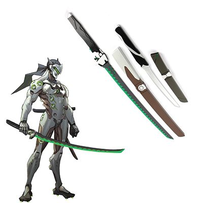 Overwatch OW Gaku Space Genji Length and Short Wooden Swords Anime Cosplay Weapons