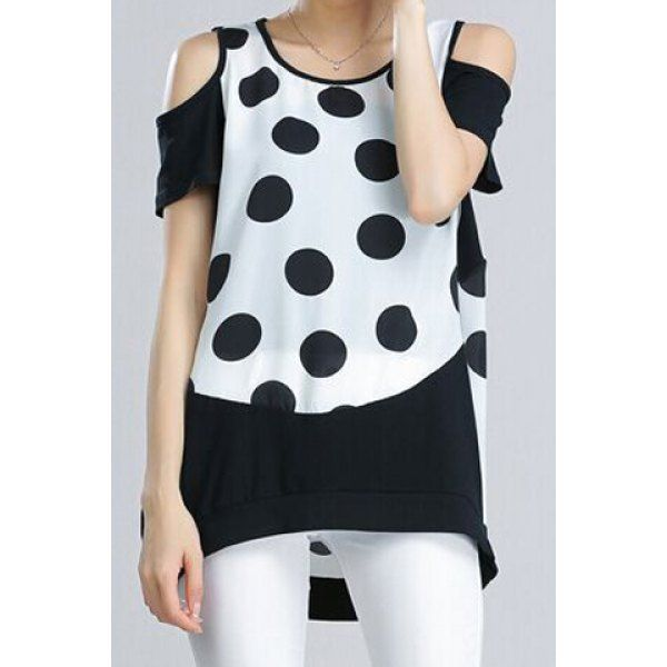 Stylish Scoop Neck Short Sleeve Hollow Out Polka Dot Women's T-Shirt