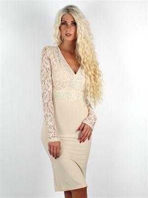 Zanca Sonne - Lys mudfarvet boheme kjole med de smukkeste detaljer af blonder og sten