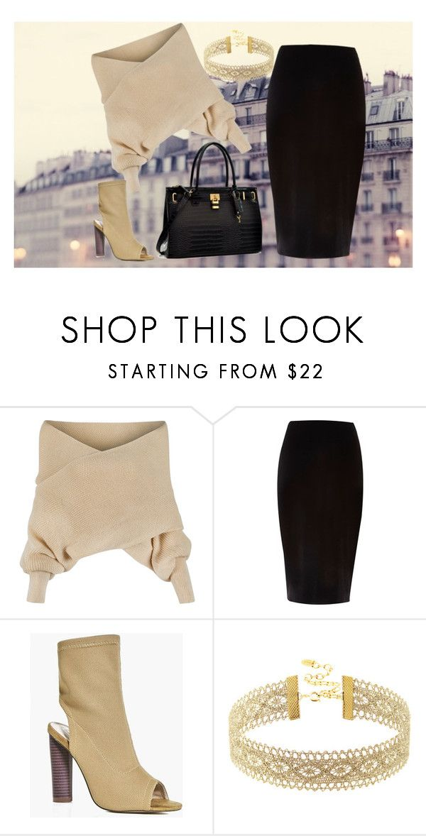 """Evening in Paris"" by egle-dambrauskaite on Polyvore featuring WithChic, River Island, Boohoo, Dasein, paris, fabulous, beige and pencilskirt"