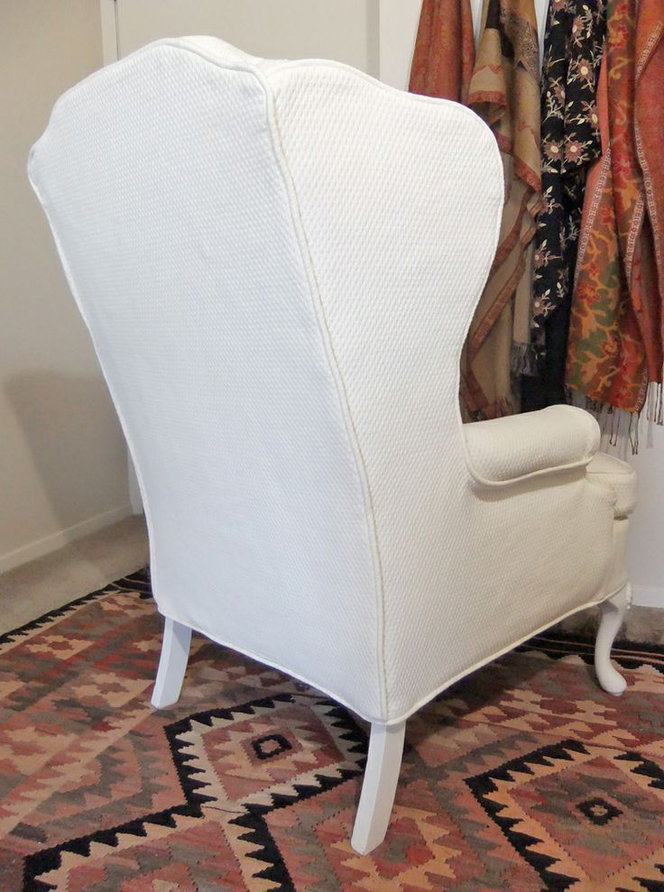 Custom Made Slipcover For Wingback Chair In Cotton Diamond