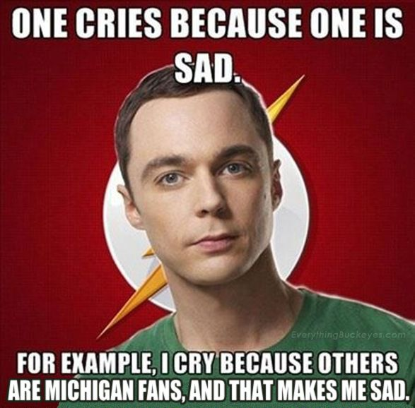 Even Sheldon Cooper knows Michigan Sucks! Muck Fichigan Go Ohio State Buckeyes!