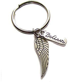 Angel Wing Believe Charm Keychain Bag Charm, Angel Gifts, Guardian Angel Charm