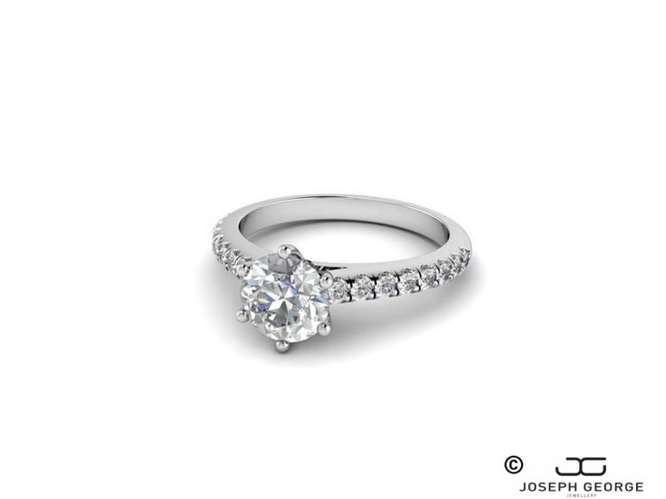 Solitaire Ring with Diamond-studded Shoulders - Olga - Joseph George - http://www.josephgeorge.com.au/?p=8948 -