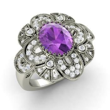 Oval-Cut Amethyst  and Diamond  Vintage Ring in 14k White Gold