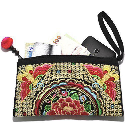 Wristlet Purses for Women Handmade Embroidered Boho Clutch Wallets Gift Bag NEW #Handmade #Wristlet