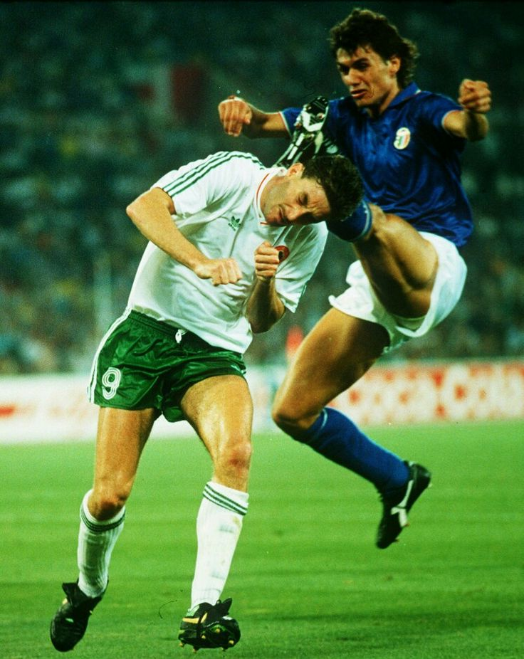 Italy 1 Rep of Ireland 0 in 1990 in Rome. Paolo Maldini and John Aldridge in action in the World Cup Quarter Final.