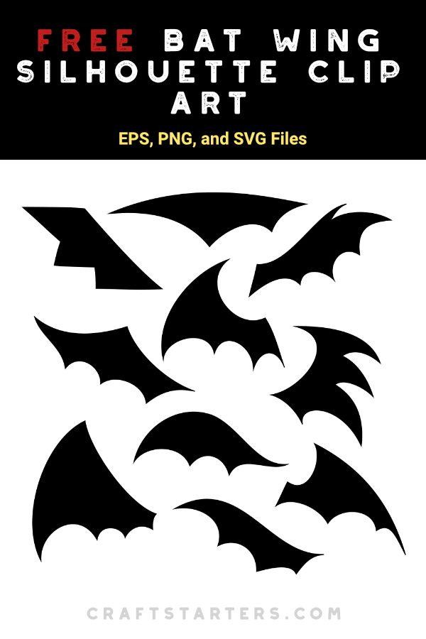 Free Bat Wing Silhouette Clip Art Silhouette Clip Art Clip Art Bat Wings