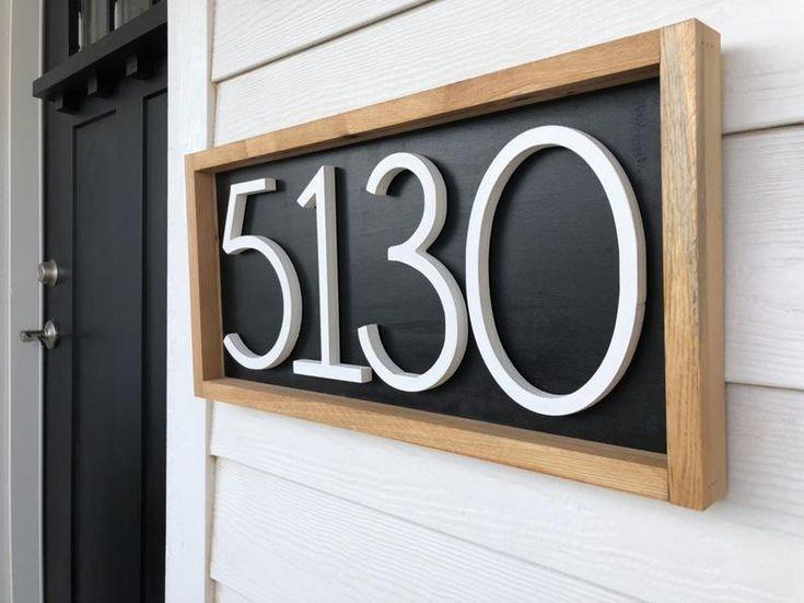 Horizontal address sign wood address home sign wooden