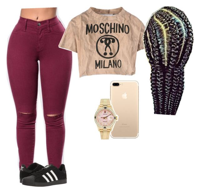 """Kehlani Concert"" by ashfordkeyonna ❤ liked on Polyvore featuring Rolex, Moschino and adidas"