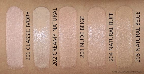 L'Oreal Paris Infallible Pro-Glow Foundation 201 Classic Ivory 202 Creamy Natural 203 Nude Beige 204 Buff 205 Photos Swatches