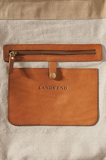 Women's Leather Twill Canvas Tote from Lands' End