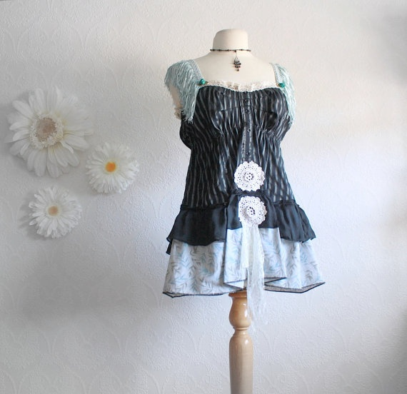 """Women's black top with aqua fringe. Burlesque Clothing Steampunk Medium """"Phoebe."""" Reminds me of the Hunger Games."""