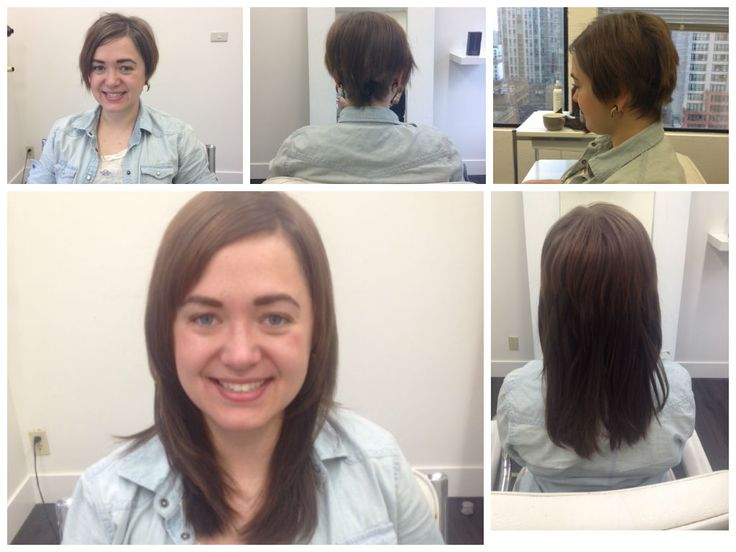 Semi-permanent free flow hair extensions before & after installation of pixie short hair http://www.pacifichair.ca/pages/hair-extensions