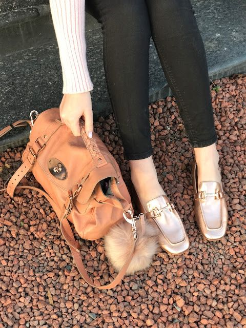 Winter Style, Blush Pink, Mulberry Alexa, ASOS, River Island, Loafers, Metallic Loafers, Rose Gold Loafers, Rose Gold,
