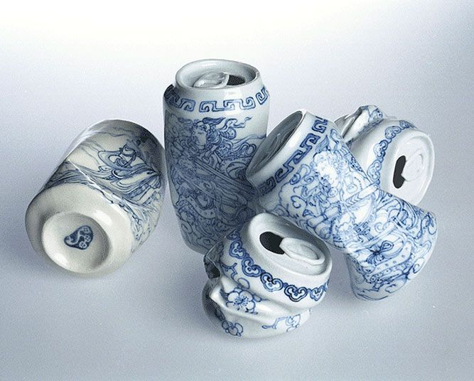 Porcelain, bone china drink cans by contemporary Chinese artist, Lei Xue