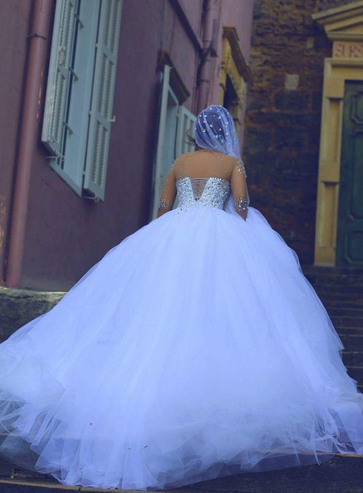 newbridalup.com SUPPLIES Charming BallGown Floor-Length Full-Sleeves Backless Tulle Beading Beach Wedding Dress Sexy Wedding Dresses (4)