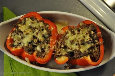 Het köttfärsfylld Paprika