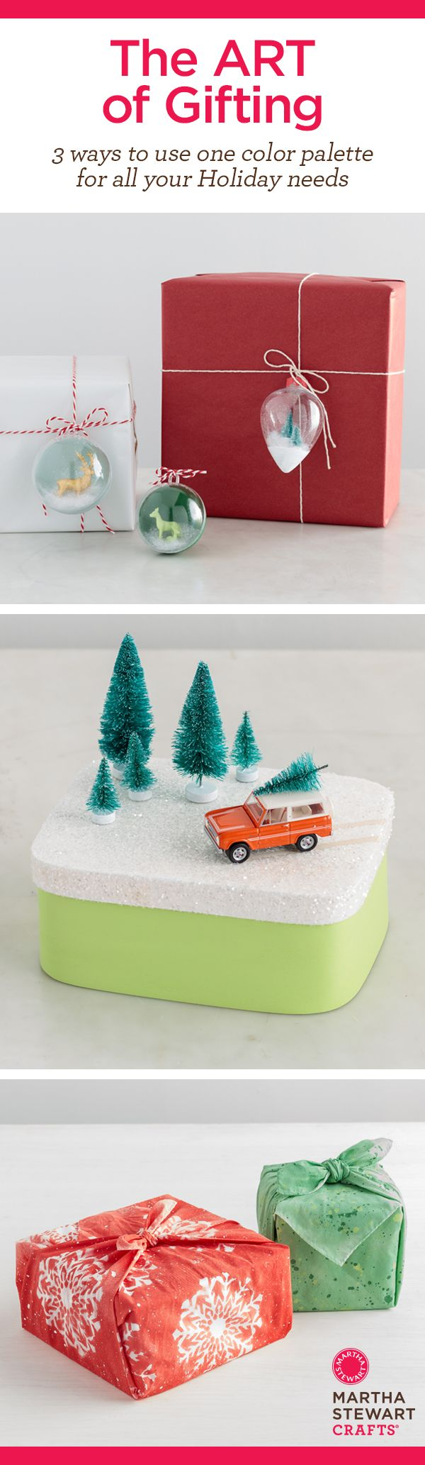 Check out these beautiful gift toppers and gift wrapping ideas- from winter scene landscape, to ornaments, to fabric wraps! What a neat way to wrap a   Christmas or Holiday gift! Brought to you by December's Martha Stewart Crafts Mad About DIY