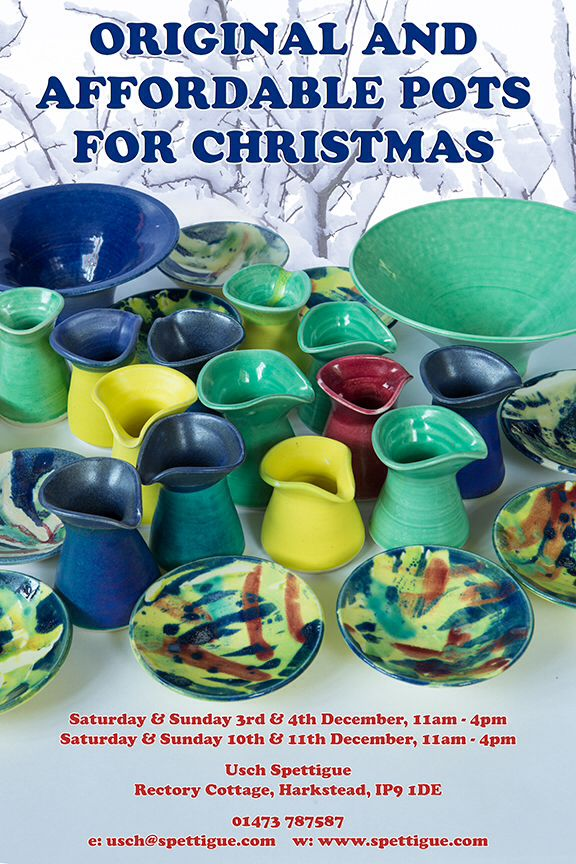 On Saturday and Sunday 3rd and 4th December and 10th and 11th December 2016, from 11am – 4pm Usch will be happy showing her new Pots in her Potloft in Harkstead. Her Studio is at Rectory Cottage, Harkstead, IP9 1DE – how to find her. If you would like to visit during the week, please call for an appointment at 01473 787587 or send a mail.