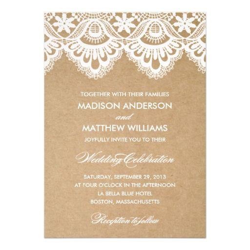 RUSTIC LACE | WEDDING INVITATION #wedding #zazzle #fineanddandypaperie