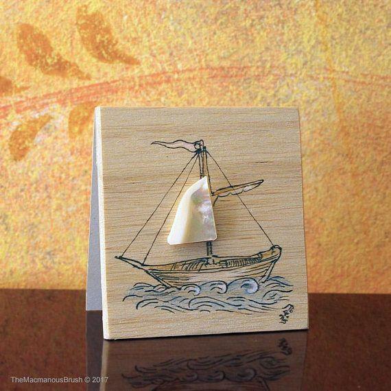 Balsa-wood & #motherofpearl card  ~ #balsawood #ship