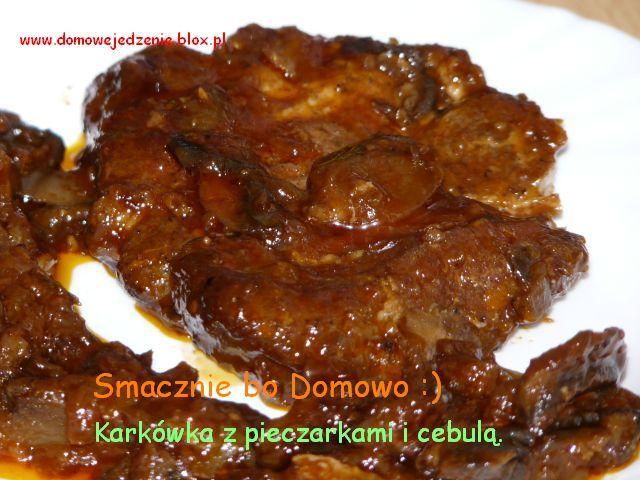 Karkówka z pieczarkami i cebulą :)