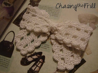 "Chasing the Frill Craft Blog:  crocheted ""Lace"" Bow free Pattern and tutorial"