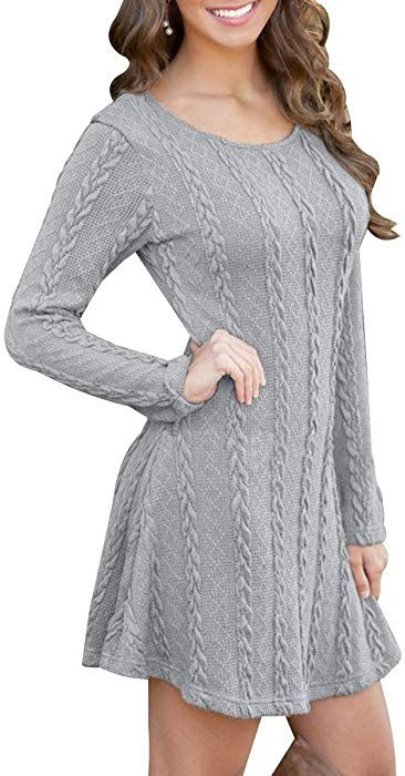 BienBien Robe Pull Tricot Femme Manches Longues Automne Hiver Mince Robe  Sweater Tricot Casual A Line 4b5add67413
