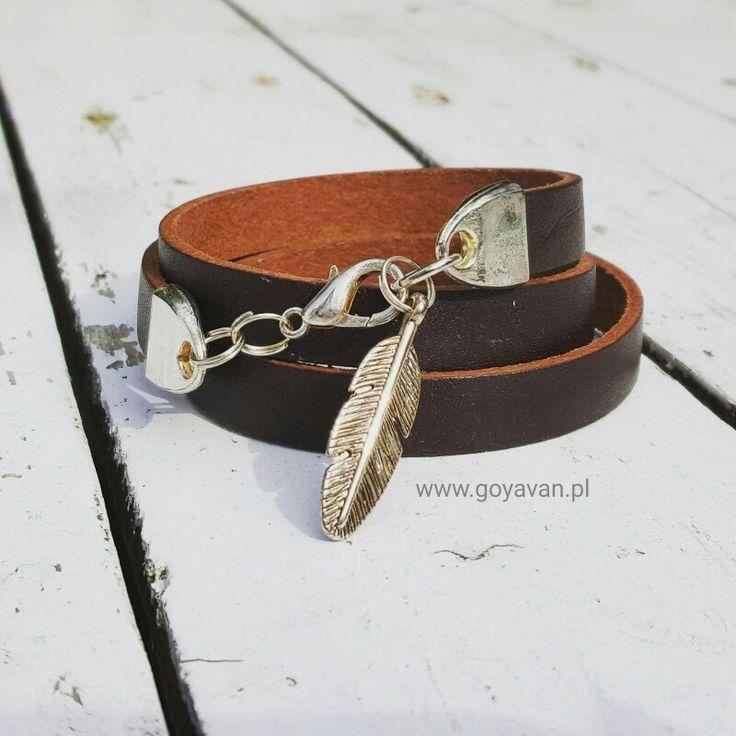 Bransoletka z naturalnej brązowej skóry do kupienia na www.goyavan.pl