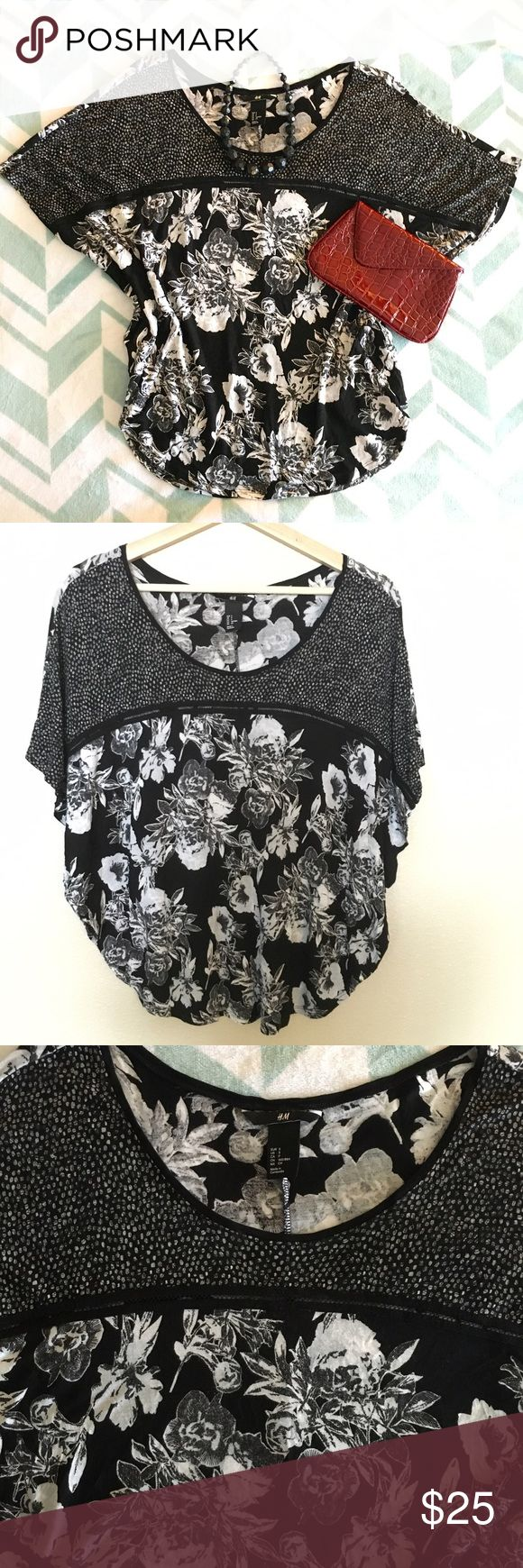 H&M | Black & White Floral Batwing Top S Cute black & white batwing floral top. In excellent condition, just too small for me. H&M Tops